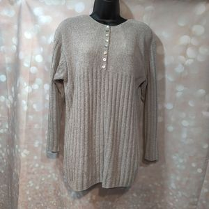 Soft Chenille Sweater With Half Pearl Button